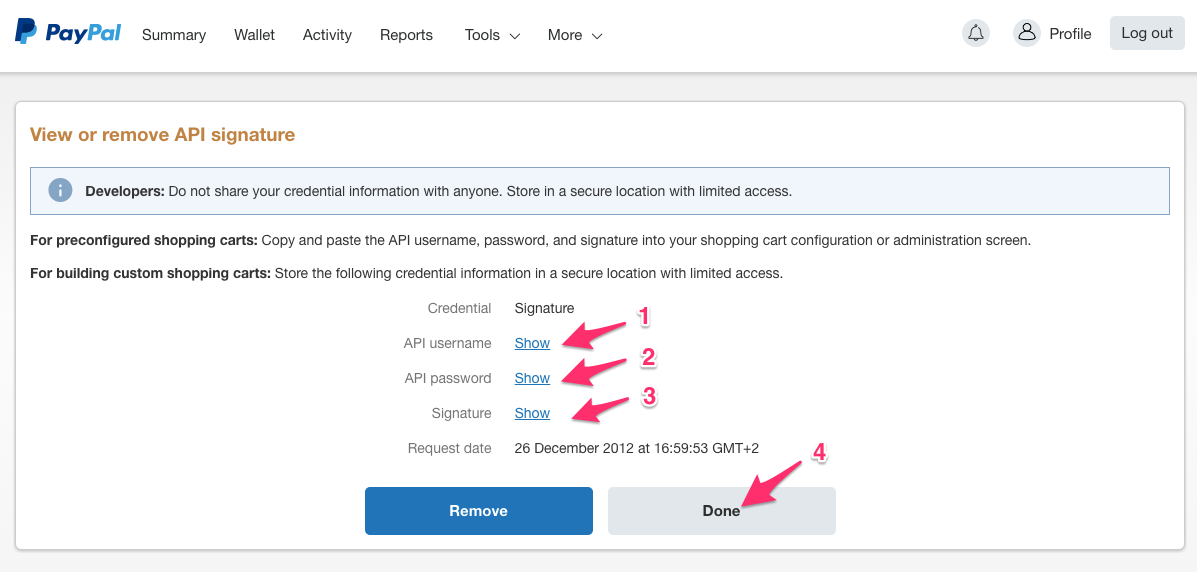 Extracting PayPal integration information – AeroCRS Support